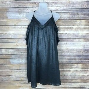 LOFT S Shimmer Cold Shoulder Cami Swing Dress B22